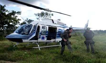 Environmental analyst Olavo Perim Galvão, who died in a plane crash on 3 July, disembarks from an Ibama helicopter