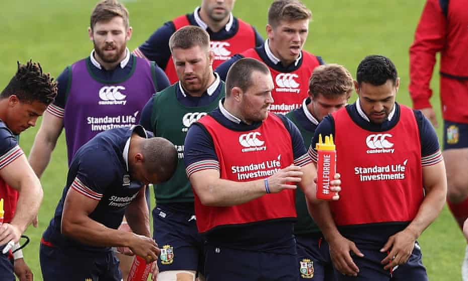 Ken Owens, centre, issues instructions to his team-mates during a Lions training session in Auckland before the match against the Blues.