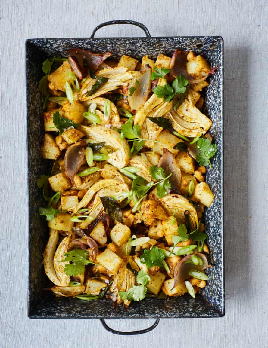 Nik Sharma's oven roasted potatoes, fennel, and white beans with sambar masala