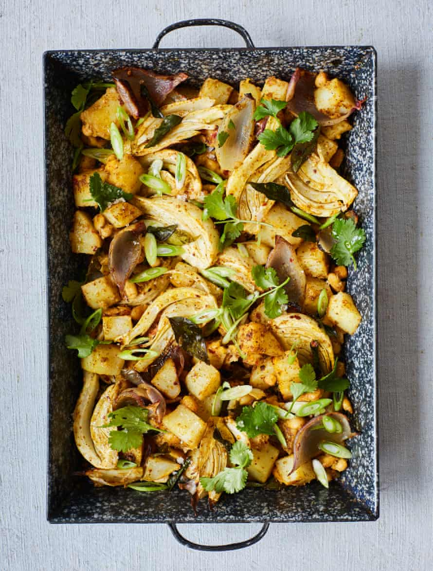 Nik Sharma's spiced roast potatoes with fennel and white beans.