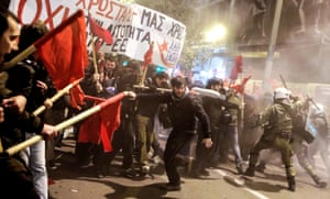 Athens, GreeceProtesters clash with riot police during a demonstration against the visit of German Chancellor Angela Merkel to the city.