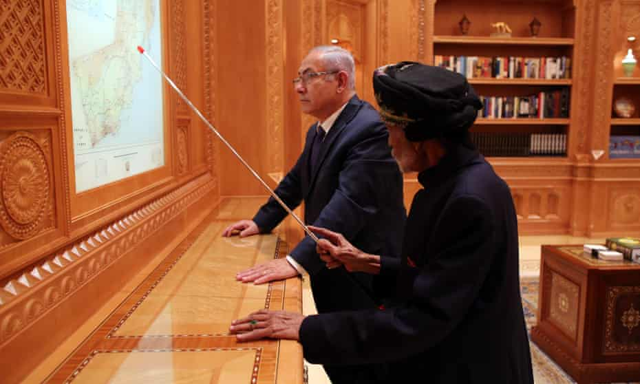 Israeli prime minister Benjamin Netanyahu with the Sultan of Oman, Qaboos bin Said Al Said, in Muscat in October 2018.