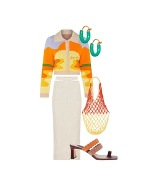 Stand out Bemi Shaw, stylist 'Make a statement with a bold print.' Cardigan, £90, houseofsunny.co.uk. Skirt, £371, Jacquemus at mytheresa.com. Earrings, £22, gimaguas.com. Bag, £95, lesfriday.co.uk. Shoes, £69, charleskeith.co.uk