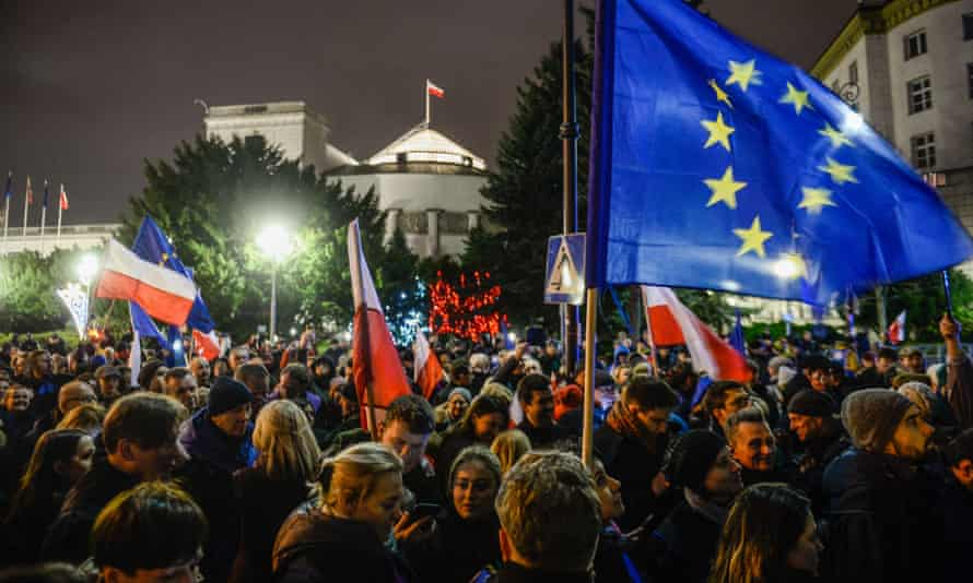 A protest against judicial reforms outside the Polish parliament