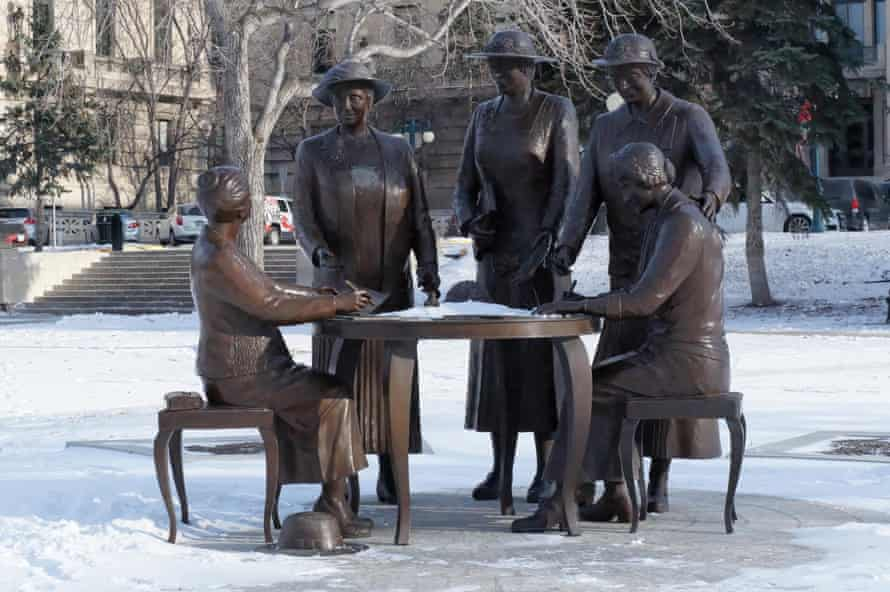 The Nellie McClung memorial by Helen Granger Young in Winnipeg, Canada, celebrates five suffragists known as the Famous Five.
