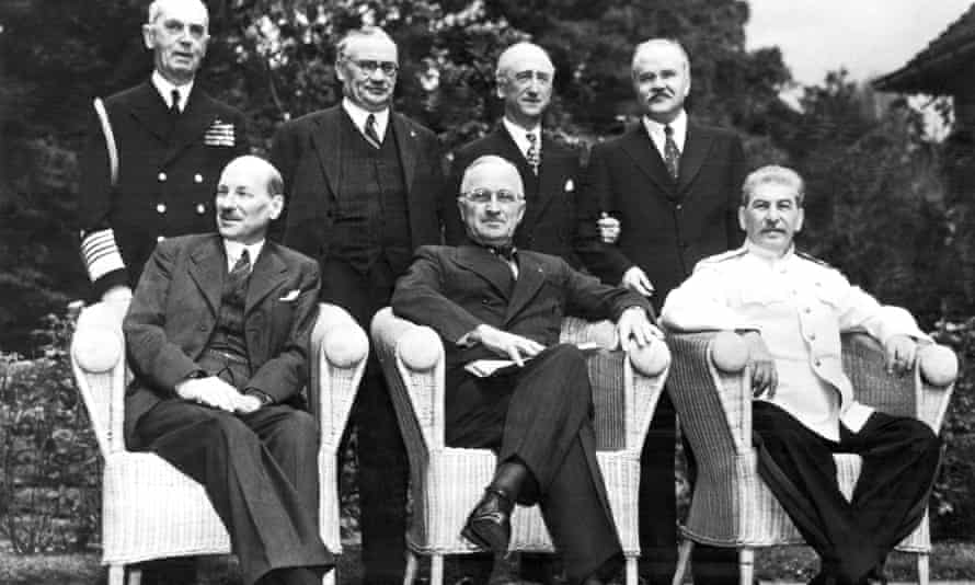 Leaders of the Big Three pose for photographers just before the final peace conference meeting, Potsdam, Germany, August 10, 1945.