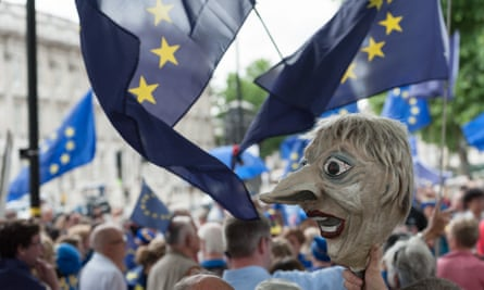 Pro-EU protesters with an effigy of Theresa May, London, June 2017