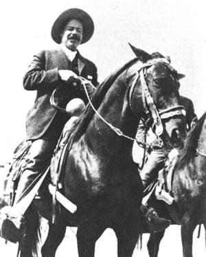 Mexican general Francisco 'Pancho' Villa on horseback, circa 1911.