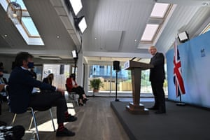 Boris Johnson speaking at his press conference.