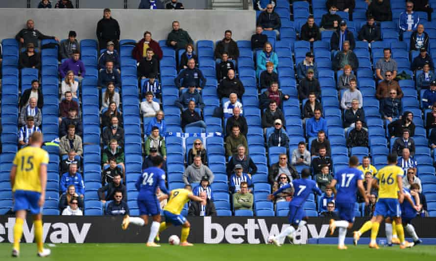 Fans watch Brighton's pre-season friendly against Chelsea at the Amex Stadium.