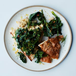 The speedy supper: Anna Jones's herby cannellini on toast topped with spring greens.