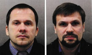Metropolitan police images of the Skripal suspects Alexander Petrov, left, and Ruslan Boshirov.