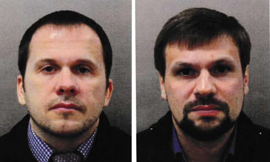 Metropolitan police images of the Skripal suspects Alexander Petrov, left, and Ruslan Boshirov.