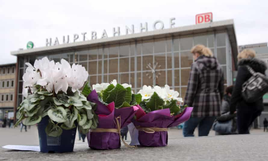 Flowers in front of Cologne central railway station in Germany