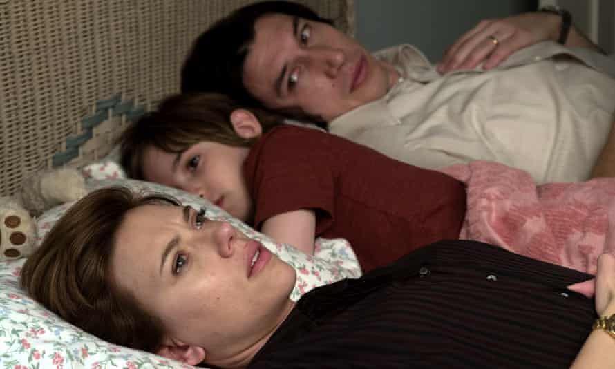 Scarlett Johansson, Azhy Robertson and Adam Driver in the film Marriage Story.