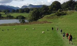 Shore leave: the group between swims in the heart of the Lake District.