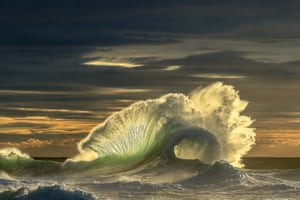 A wave at dusk