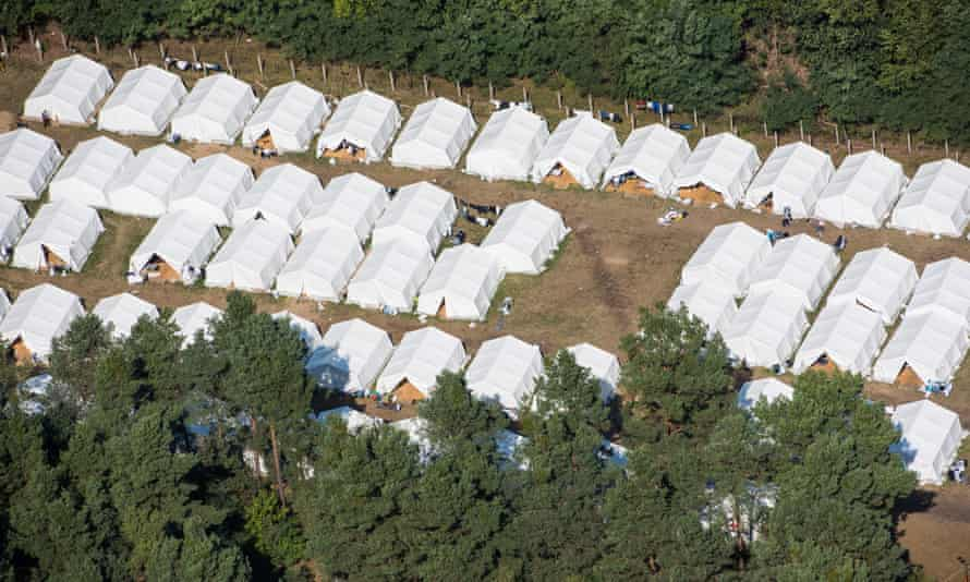 Aerial view of a provisory tent village