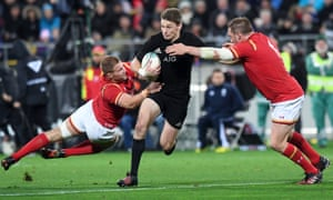 Beauden Barrett looks to make a break for the All Blacks against Wales.