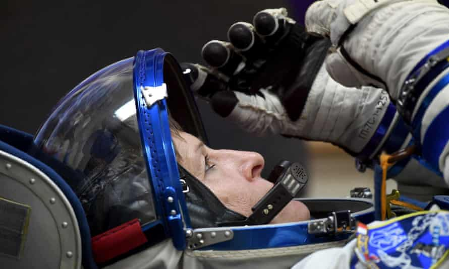 Peggy Whitson during spacesuit tests at the Baikonur cosmodrome.
