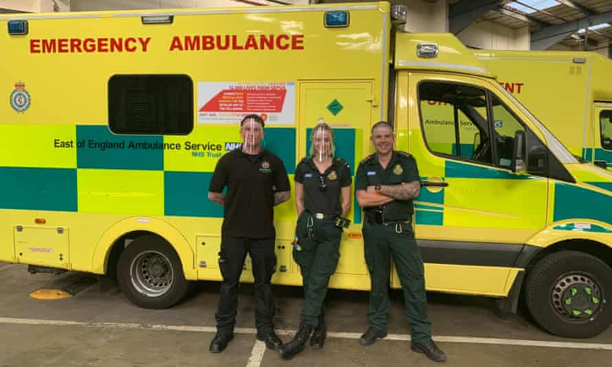 Paramedics in the East of England Ambulance Service wearing visors made by Chiltern Academy.