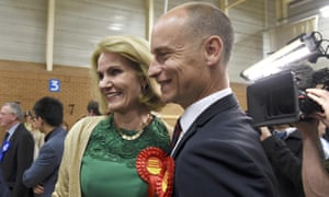 Danish prime minister Helle Thorning-Schmidt celebrates with her husband Stephen Kinnock as he is elected MP for Aberavon.