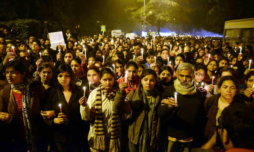 Protestors in India hold candles during a rally in Delhi in 2012 after the death of the bus rape victim.
