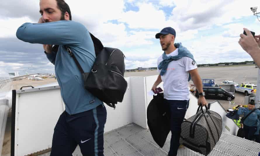 Eden Hazard boards a plane to fly to Baku for the Europa League final.