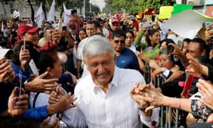 Andrés Manuel López Obrador greets supporters during a campaign rally in Mexico City on Wednesday.