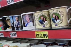Souvenirs on display in a shop near Windsor Castle.