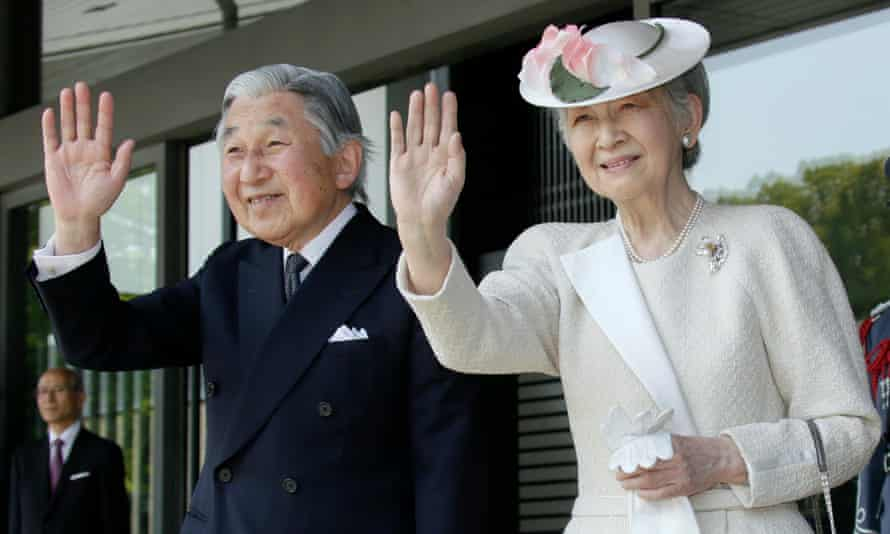 Japan's Emperor Akihito and Empress Michiko at a welcoming ceremony for Barack Obama in 2014.
