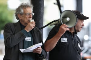 Piers Corbyn (left), the brother of former Labour Party leader Jeremy Corbyn, speaking at a Stop New Normal protest at Portobello Green in London on 30 August, 2020.