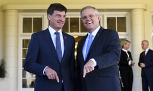 Scott Morrison (right) poses for photographs with Australian energy minister Angus Taylor last week.