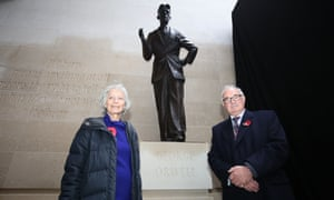 Baroness Whitaker and Richard Blair at the unveiling of a bronze statue of George Orwell.