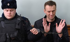 Navalny in court after his arrest during a protest rally in Moscow last month.