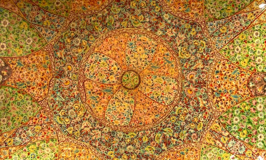 Detail from the inside of a papier-mache bowl in Kashmir, India