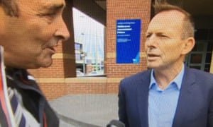 Tony Abbott filmed by a Seven News crew outside the Melbourne prison where Cardinal George Pell is being held