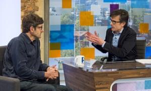 Robert Peston (right) talks to Louis Theroux.