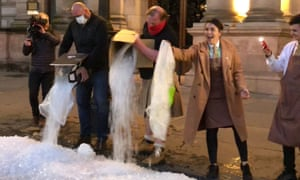 Left over ice dumped on the street in Glasgow in a protest by hospitality workers