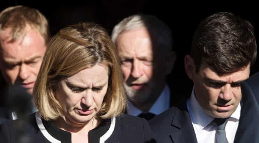 Manchester Arena incident(Left-right) Liberal Democrat leader Tim Farron, Home Secretary Amber Rudd, Labour leader Jeremy Corbyn and Mayor of Greater Manchester Andy Burnham attend a vigil in Albert Square outside Manchester Town Hall after a 23-year-old man was arrested in connection with the Manchester concert bomb attack. PRESS ASSOCIATION Photo. Picture date: Tuesday May 23, 2017. The attack killed 22 people, including children, and injured dozens more in the worst terrorist incident to hit Britain since the July 7 atrocities. See PA story POLICE Explosion. Photo credit should read: Danny Lawson/PA Wire