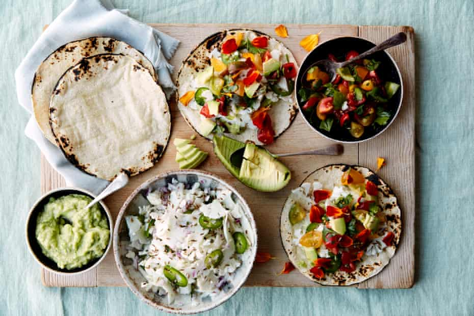 Anna Jones' cauliflower ceviche tacos with a lime and tomato salad.