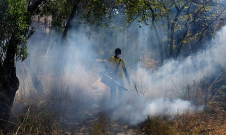 A worker fumigates for mosquitoes that transmit malaria in the Petare neighbourhood of Caracas.