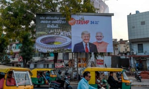 Trump and Modi on a poster in Ahmedabad.