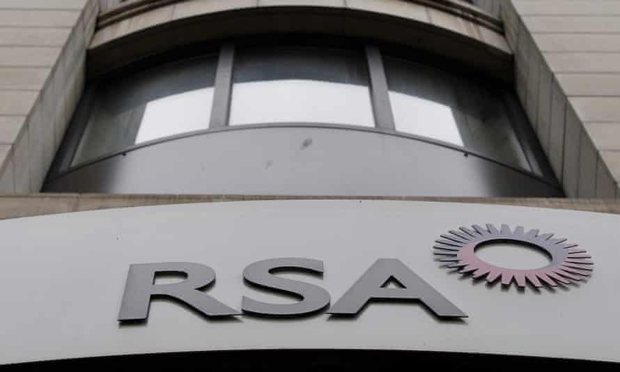 The logo of British insurance group RSA outside its London offices