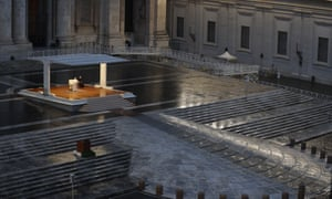 Pope Francis delivers an Urbi et orbi prayer from the empty St. Peter's Square, at the Vatican