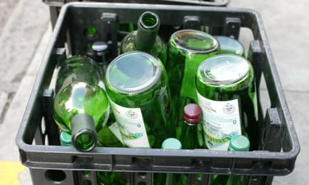 Empty wine bottles awaiting recycling