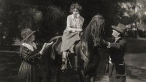 Be Natural … Alice Guy-Blaché, left, directs Bessie Love on the set of The Great Adventure in the Florida Everglades, in 1918.
