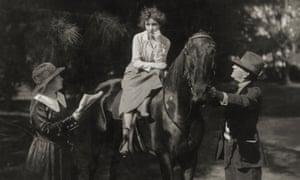 Screen queen... Alice Guy-Blaché (left) directs a film in 1918.