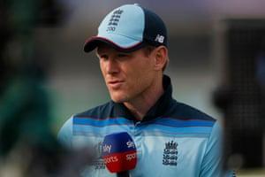 England captain Eoin Morgan is interviewed after Englands 64 run defeat.