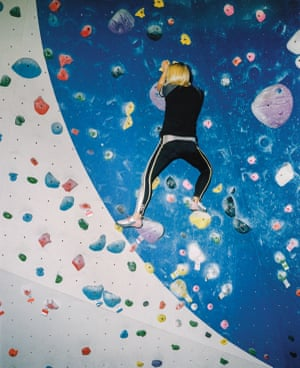 Elizabeth Swaney climbs at Blue Granite Climbing Gym in South Lake Tahoe.